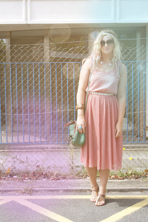 midi polka dot Primark dress - satchel Primark bag - dune sandals
