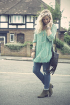 green Forever 21 dress - olive green Topshop boots - navy Forever 21 jeans