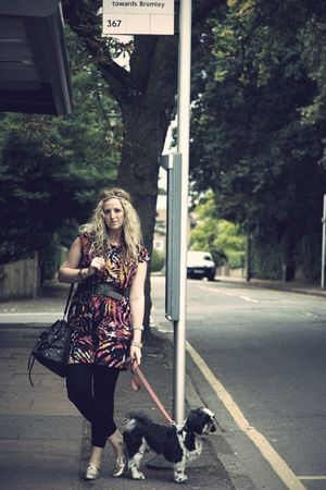 pink Peacocks dress - black new look belt - gold Primark shoes - black H&M leggi