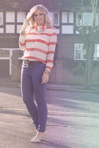 carrot orange striped blouse - purple skinny Marks & Spencers jeans