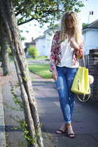 coral floral biker OASAP jacket - blue Zara jeans