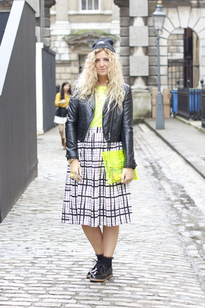 white checked midi asos skirt - black Primark shoes - black H&M jacket