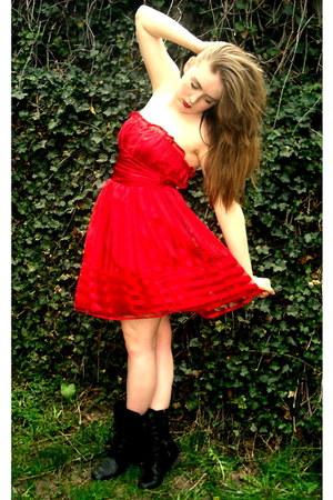 black xhiliration boots - red B Smart dress