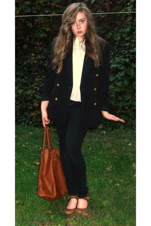 brown Steve Madden heels - black Forever 21 jeans - crimson H&M bag