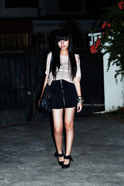black Nine West bag - light pink blouse - black skirt