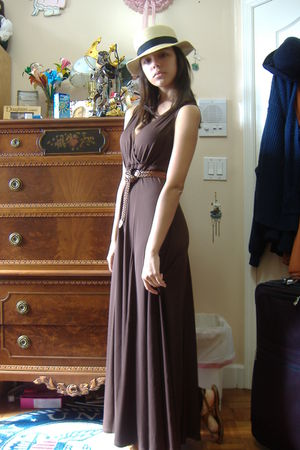 brown belt - brown dress - brown f21 shoes - beige f21 hat