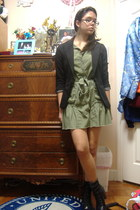 black lace-up Marc Fisher boots - olive green papaya dress - black Charlotte Rus