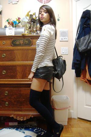 white Topshop shirt - black Forever21 shorts - black aa socks - black UO shoes -