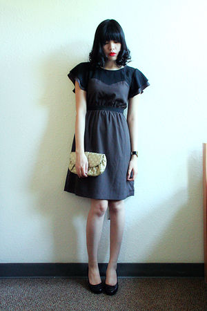 black thrfted dress - black thrifted shoes - black Aldo accessories - gold Expre