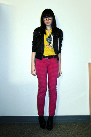 black Tomato jacket - black thrifted shoes - gold graphic landmark shirt