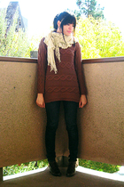 brown oversized sweater - beige scarf - blue dark cigarette jeans - brown lace u
