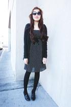 black polka dot merona dress - black Mossimo cardigan