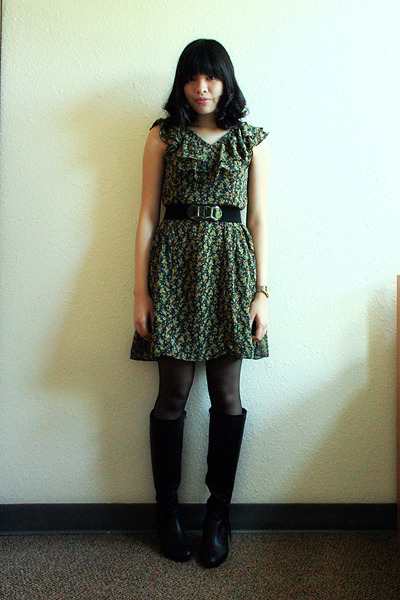 green Fashion Lab dress - black aerosoles shoes - black Singapore belt - black T