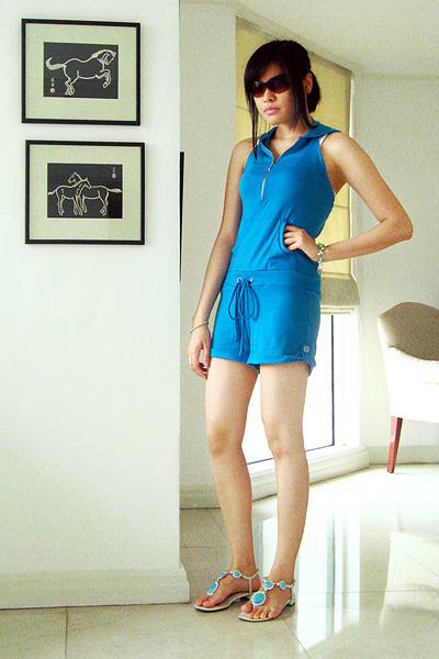 white t-strap sandal Bazaar shoes - brown my moms sunglasses - blue Redhead