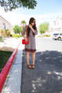 Red-merona-dress-white-guess-sunglasses-navy-aldo-watch