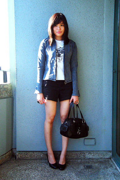 YRYS jacket - human t-shirt - Old Navy shorts - etienne aigner accessories - pay