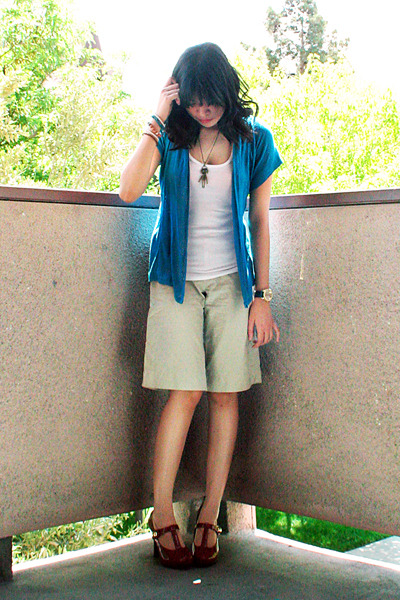 blue Mossimo cardigan - white Mossimo top - beige Bayo shorts - brown Charlotte