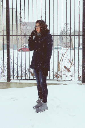 navy merona coat - heather gray Columbia boots - blue American Eagle jeans