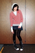 human sweater - thrifted shirt - Terranova skirt - Forever21 tights - SM boots -