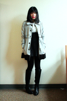 black SM skirt - black knee high aerosoles boots - blue trench Susto coat