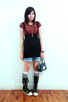 blue SM shoes - red striped Redhead shirt - blue denim Old Navy shorts