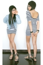 blue striped Topshop dress - silver Topshop shoes - black beanie Zara hat