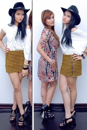 hat - Topshop top - h&m via thrift town skirt - Zara shoes