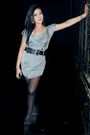 Silver-zara-dress-black-topshop-belt-black-zara-boots