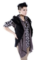 gray What A Girl Wants vest - black What A Girl Wants top - charcoal gray What A
