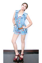 blue Mango vest - blue Zara - brown Topshop belt - red Zara shoes
