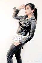 black Zara jacket - white Mango top - black Levis jeans