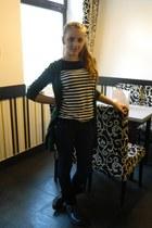 Bossini blouse - black leather boots - Bershka jeans - dark green blazer