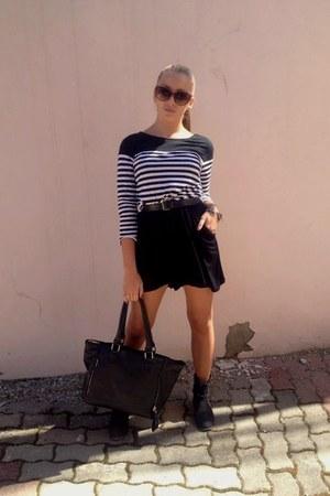 blouse - boots - dress - bag - sunglasses - belt