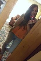 light orange Tally Weijl t-shirt - light blue Takko jeans - tan blazer