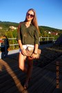 Olive-green-new-yorker-shirt-tan-bag-white-denim-shorts-sunglasses