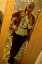 blazer - cotton leggings - blouse - leather belt - necklace