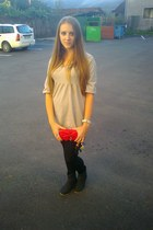 wallet - boots - dress - tights - watch