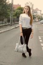 off white Atmosphere blouse - black boots - black jeans - silver bag - belt