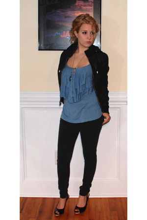 black Urban Outfitters jacket - blue Urban Outfitters shirt