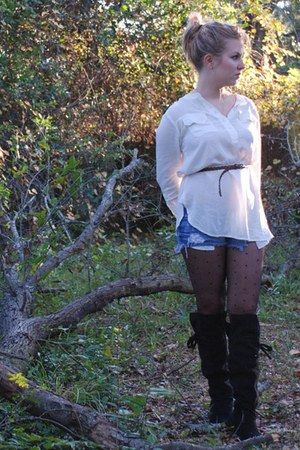 Urban Outfitters blouse - Urban Outfitters belt - Forever 21 tights - Aldo boots