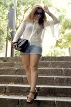 asos bag - Forever 21 shorts - H&M sandals - h&m divided blouse