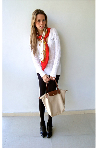 white American Eagle sweater - black Nine West boots - black H&M tights