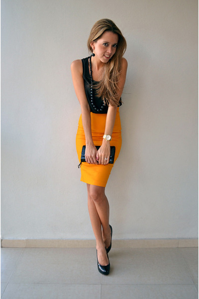 mustard skirt - black Zara shirt - Chanel bag - black Christian Louboutin pumps