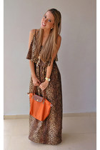 leopard print dress - Lomgchamp bag - Michael Kors watch