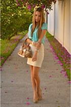 aquamarine Bershka blouse - coach bag - eggshell Zara skirt - Bershka heels