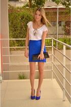blue Steve Madden heels - white Zara shirt