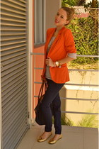 carrot orange Stradivarius blazer - navy Long Champ bag - navy Bershka pants