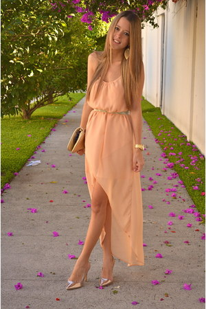 peach Zara dress - tory burch bag - Stradivarius heels - Michael Kors watch
