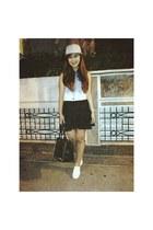 black studded bag - heather gray hat - black romwe skirt