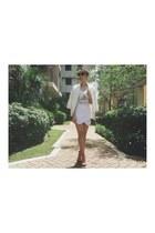 white coat - white shorts